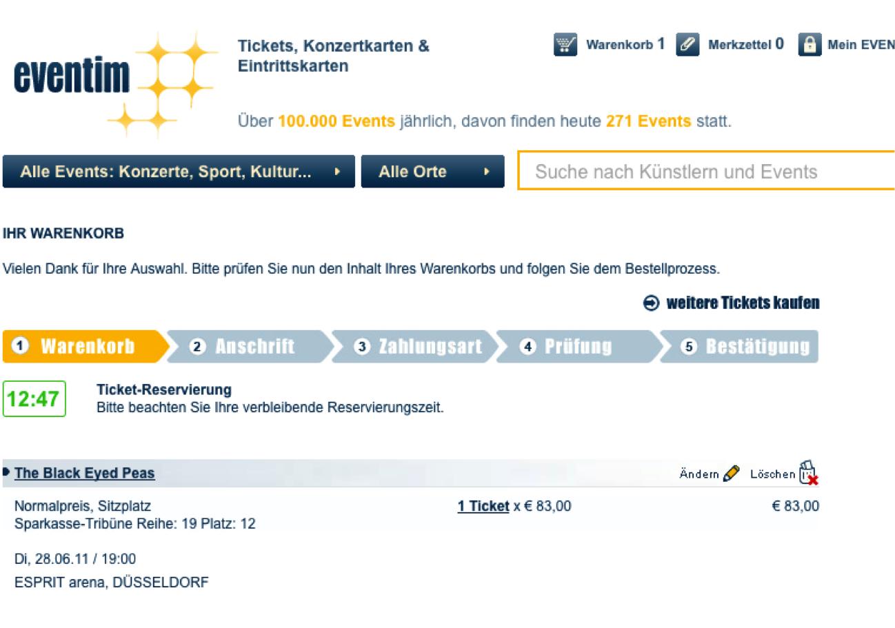 Online-Kauf von Tickets