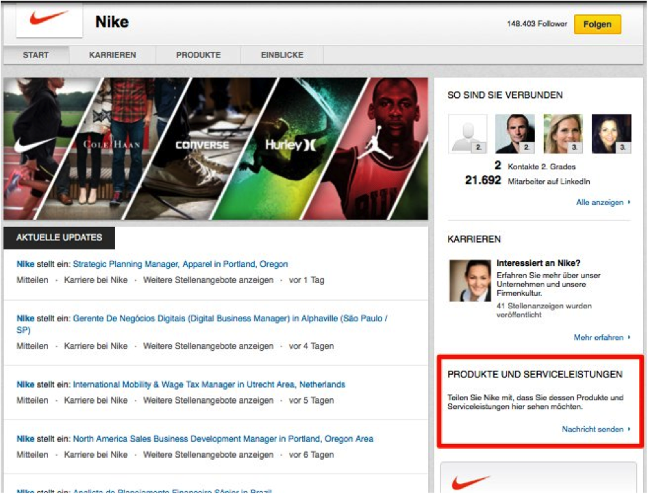 LinkedIn Unternehmensprofil Nike