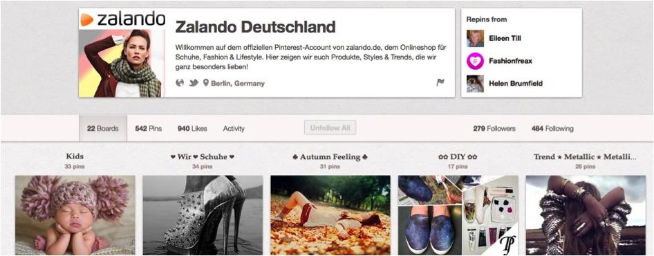 Pinterest Unternehmensprofil Zalando