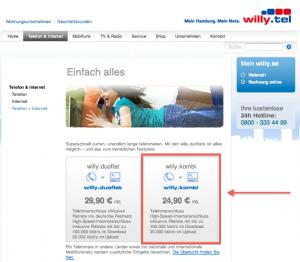 Produktauswahl Internet und Telefonie Willy.Tel