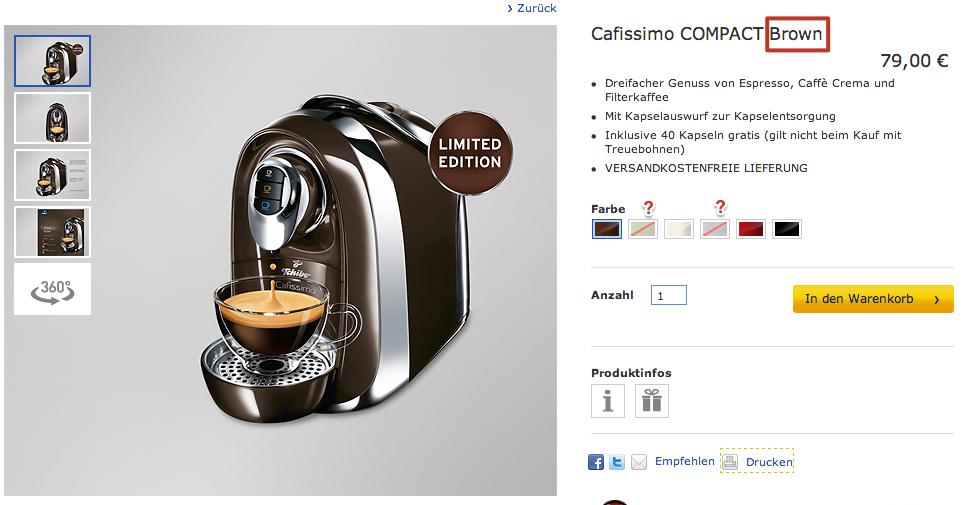 Produktdetailseite Cafissimo COMPACT