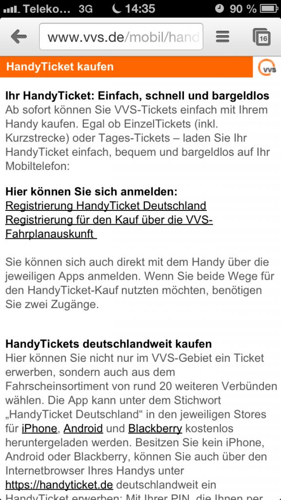 Informationen zum HandyTicket unter www.vvs.de/mobil/handyticket.html
