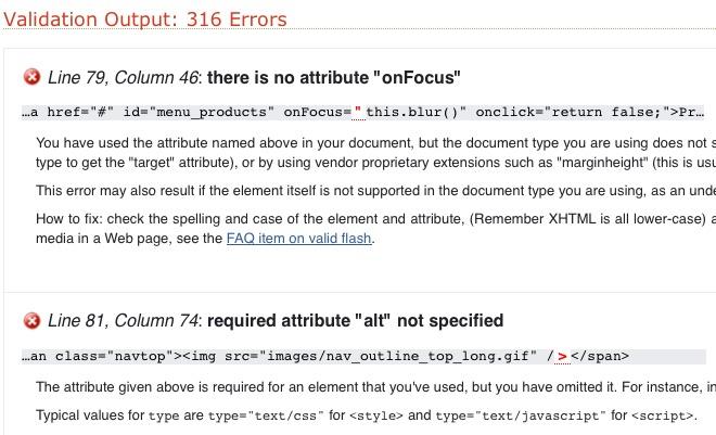 W3C Validator Fehlerliste