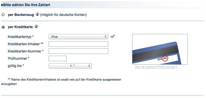 Zahlungsart auswählen bei eventim.de