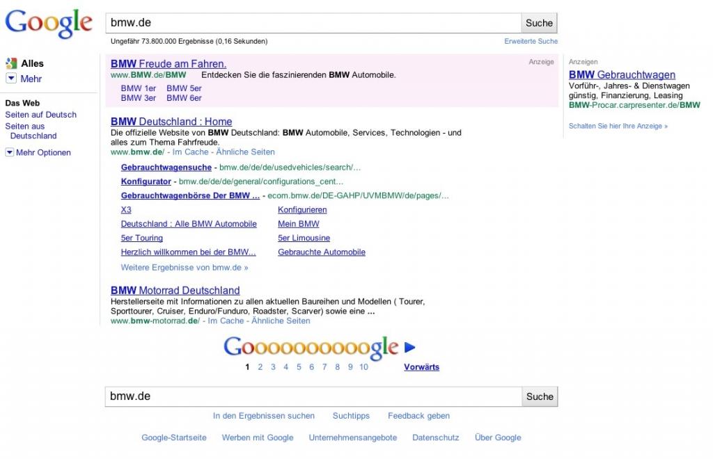 Google Suchergebnis zu bmw.de