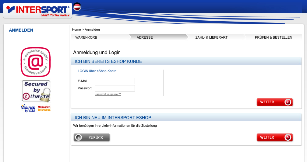 CheckOut-Prozess vom Intersport-eshop