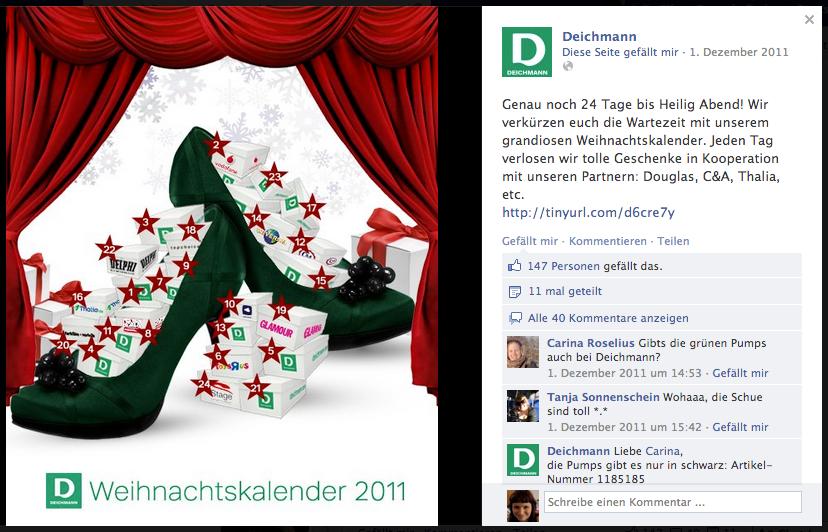 Adventskalenderpost auf der Facebookseite von Deichmann