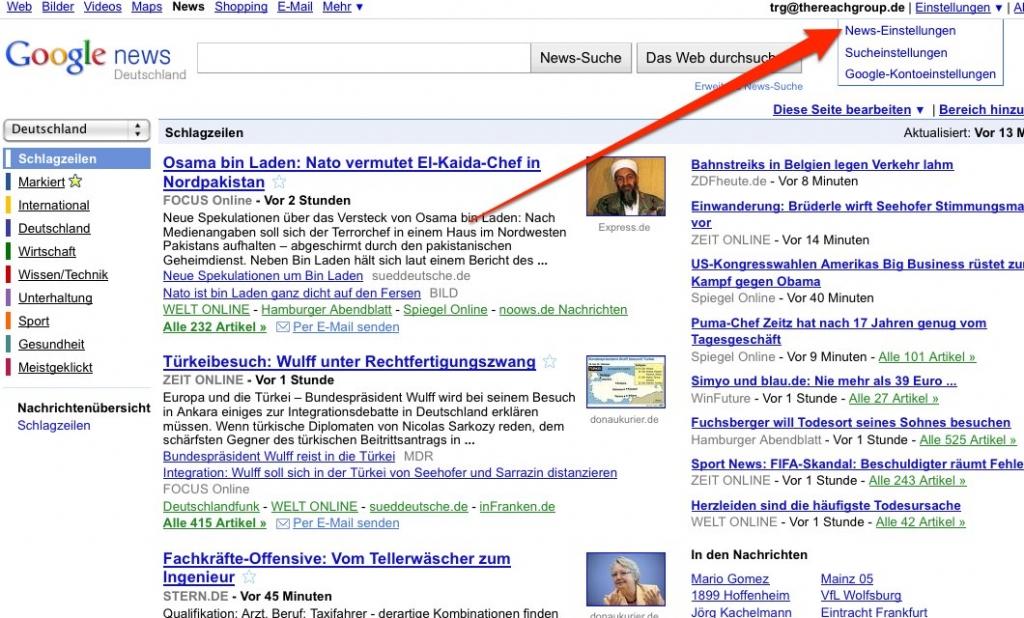 Google News Update - Personalisierung