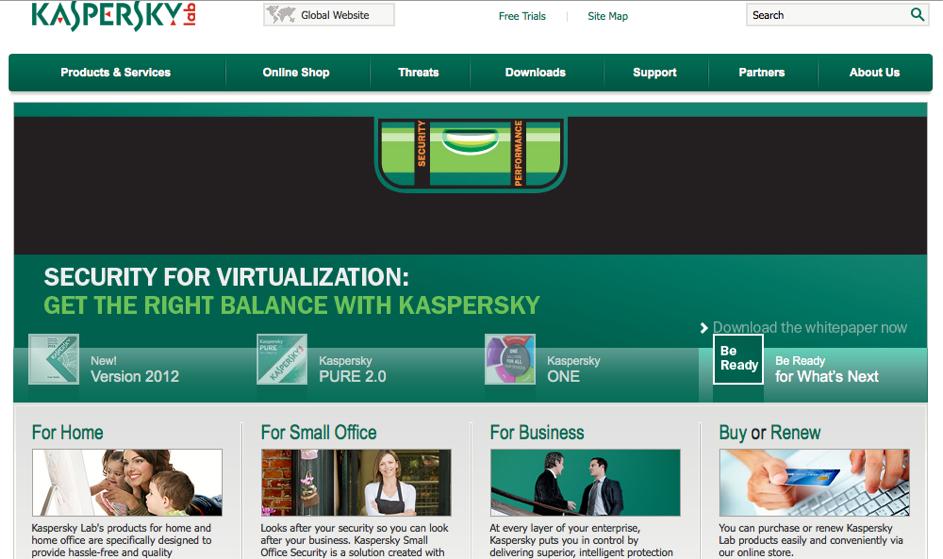 Startseite von Kaspersky