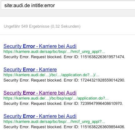 Fehlerseiten bei Audi.de